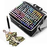 168 Colores Rotuladores, Marcadores Doble Punta Rotuladores Pincel de Certificación SGS, Marker Pen Set de Para Niños, Artista, Estudiantes, para dibujar, colorear, subrayar(Con base fija)