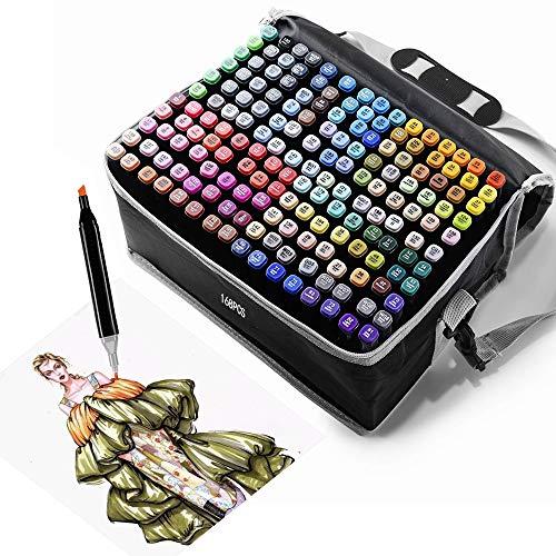 TongfuShop 168 Colores Rotuladores, Marker Marcadores Doble Punta Rotuladores Pincel de Certificación SGS, Marker Pen Set de Para Niños, Artista, Estudiantes, Dibujar, Colorear, Subrayar(con Fija)