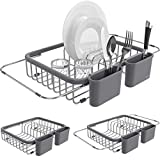 Shanik Expandable Draining Dish Rack - Over-Sink Dish Drainer, Sponge Rack with Two