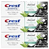 Crest Charcoal 3D White Toothpaste, Whitening Therapy, with Tea Tree Oil, Refreshing Mint flavor, 4.1 oz, Pack of 3