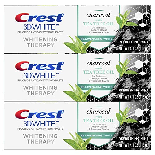 Crest Charcoal 3D White Toothpaste Whitening Therapy with Tea Tree Oil Refreshing Mint flavor 41 oz Pack of 3