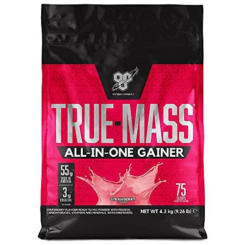 BSN True Mass All In One Gainer, Proteínas para Aumentar Masa Muscular con Creatina Monohidratada, Glutamina, Vitamina D y Zinc, Fresa, 25 Porciones, 4.2 kg