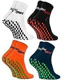 Rainbow Socks - Hombre Mujer Calcetines Antideslizantes de Deporte - 4 Pares - Bianco Negro Naranja Azul - Talla 44-46