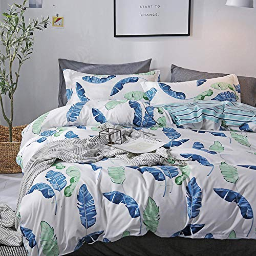 YINHAGT Duvet Cover Set 3 pcs King Size Ultra Soft Hypoallergenic Microfiber Quilt Bedding with Zipper Closure and 2 Pillowcases Blue Flowers 240x220cm