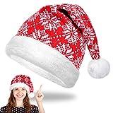 EKKONG Cappello Babbo Natale, Cappello di Natale Morbido Cappellini Natale in Peluche Bambini Adulti Cappello Natalizio Unisex per Feste di Famiglia Capodanno Costumi Natalizi Accessori