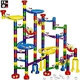 FUNTOK Marble Run Set - 122 Pcs Marble Maze Game Marble Race Track Building Toy, Building Blocks Educational Toys(90 Translucent Marbulous Pcs & 32 Pcs DIY Marbles