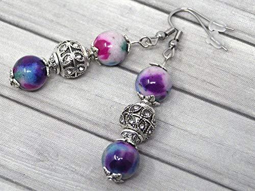 Pendientes de acero inoxidable con cuentas de jade naturales, púrpura, azul y blanco, y perlas con cristales