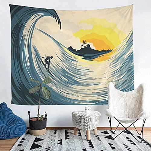 Tapiz japonés Hokusai para colgar en la pared, para colgar en la pared, para niños, niñas, olas de mar, surfear, decoración de pared, arte de pared para dormitorio, sala de estar, pequeño 152 x 200 cm