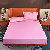 BIANXU Home Sábana bajera elástica de algodón, sábana bajera para el hogar, cama doble, tamaño king 180 x 220 x 10 cm + 2 fundas de almohada (48 x 74 cm)