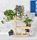 REGAL BOBE Shop- Massivholz Blumenständer Mehrgeschossige Boden Blume Bonsai Holz Blume Balkon Wohnzimmer Innenraum (Farbe : Holz Farbe, größe : 66 * 72 * 26cm)