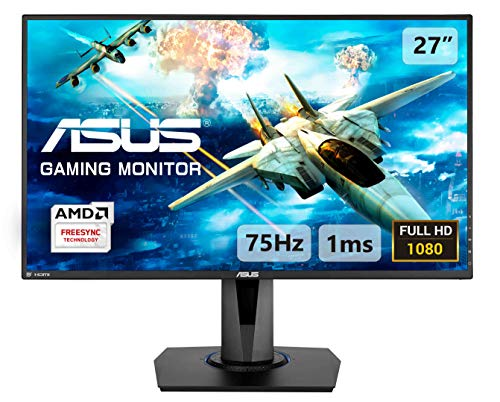 ASUS VG275Q 27'' FHD (1920 x 1080) Gaming Monitor per PC, 1 ms, 75 Hz, DP, HDMI, D-Sub, Super Narrow Bezel, FreeSync, Filtro Luce Blu, Flicker Free