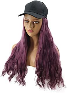 Hairpieces Hair Extension Fashion Purple Lady Wig Hat One-Piece Hat Wig Type Perm Long Curly Hair Hair Weave