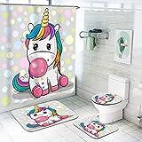 Fgolphd Einhorn Duschvorhang 180x200180x180 Cartoons Rosa Einhorn Bunt Badezimmerteppich 4-teiliges Set, Shower CurtainsWasserdicht Duschvorhang (180 * 180,9)