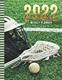 2022 Weekly Planner: 8.5x11 Dated 52-Week Organizer With To Do List - Notes Section - Habit Tracker / Lacrosse Helmet Stick Ball on Green Field - Art ... to December Calendar / Life Planning Gift