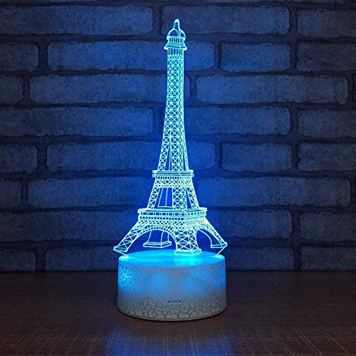 Lámpara 3D ilusión LED Luces nocturnas Eiffel tower Gift Darling In The Best Birthday Holiday Gifts For Children Con interfaz USB, cambio de color colorido