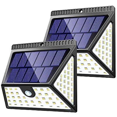 ZOOKKI Super Bright Waterproof Solar Powered Wall Lights Outside, Wireless Security Lights Night Light for Garden Fence Deck Yard Garage Driveway-2 Pack