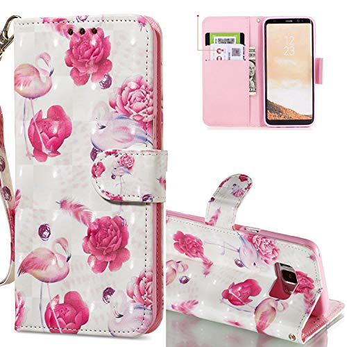 HMTECH Galaxy S8 Coque 3D Luxu Fleur de Flamant Rose Slim Housse Étui PU Cuir Housse Coquille Couverture Magnétique Stand Compatible with Samsung Galaxy S8,KT Flamingo Flower