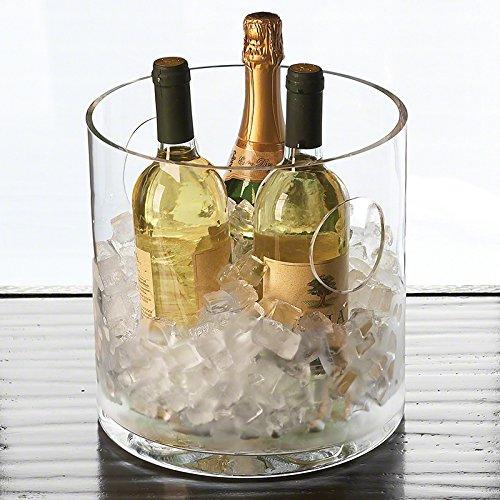 Large Multi Bottle Glass Wine Chiller | Minimalist Retro Handles Ice Bucket