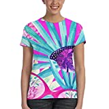 RTBB Damen 3D Palme Ananas Sonnenbrille Blume T-Shirt Kurzarm Top Gr. X-Large, Schwarz