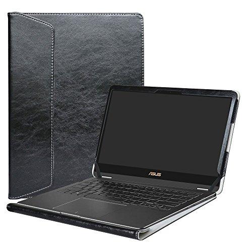 Alapmk Diseñado Especialmente La Funda Protectora de Cuero de PU Para 13.3' Asus Zenbook Flip S UX370UA Series Ordenador portátil,Negro