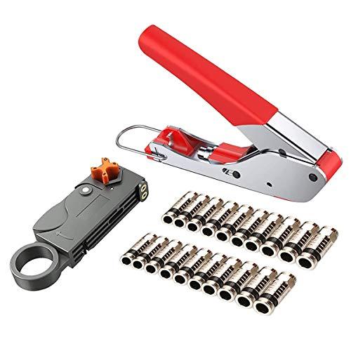 Juego de alicates de compresión, crimpadora, herramienta pelacables RG59/RG6 con 20 unidades...