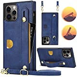 Compatible with iPhone 12 Pro Max Wallet Case Crossbody Leather Case with Hand Strap Holder,Stand,Card Holder,Adjustable Removable Shoulder Strap,HOGGU Square Corner Case Protective Cover,Navy Blue
