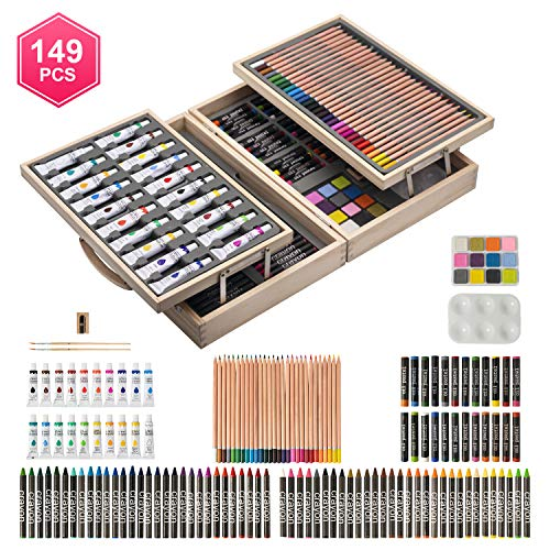 ART QIDOO 149 Pieces Deluxe Art Set/Kit- Art Supplies, Painting and Drawing Set in Wooden Case with Crayons, Oil Pastels, Colored Pencils, Acrylic Paints, Sharpener, Watercolor Cakes and Brushes