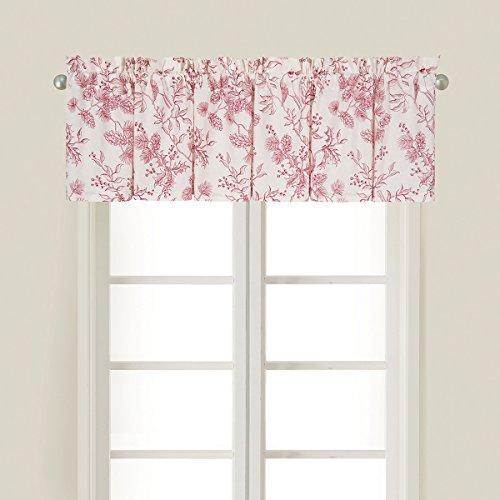 C&F Home Evergreen Red White Floral Botanical Spring Summer Cotton Bedroom Guestroom Premium Window Valance Valance Multi
