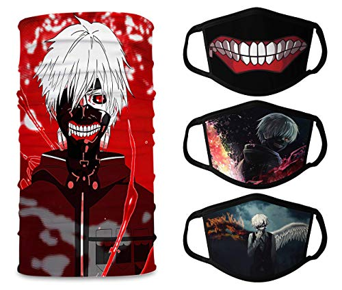 Unisex Tokyo Ghoul3 Pcs Face Mask+1 Pcs Neck Gaiter Reusable Washable Adjustable Face Protection Balaclava Made in USA