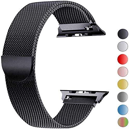 VIKATech Bracelet de Remplacement Compatible avec Apple Watch Bracelet 44mm 42mm 40mm 38mm, Bracelets de Rechange Smartwatch avec Aimant compatibles avec iWatch Series 6/5/4/3/2/1 (38mm/40mm, Noir)