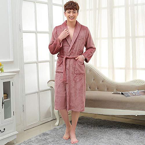 YRTHOR Amantes Albornoz de Kimono de Franela de Seda súper Suave, Bata de baño de Dama de Honor de Boda para Mujer, Bata de Hombre, Ropa de Dormir Larga,Hombres Cameo Brown,L
