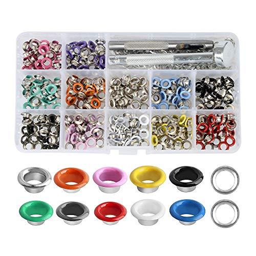 Ösen 5mm, Gobesty 360 Stück Ösenzange set Metallösen Grommet Werkzeug Kit mit Aufbewahrungsbox für Planen Leder Gürtel Schuhe Kleidung (12 Farben)