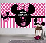 Minnie Mouse 3rd Birthday Backdrop, Minnie Mouse 3rd Birthday Banner Party Supplies, Minnie Mouse 3rd Birthday Decorations, Third Birthday Photography Background (6.6 x 3.3 ft)