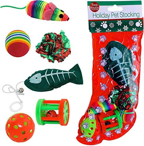 Kole Christmas Cat Stocking, 6 Assorted Toys