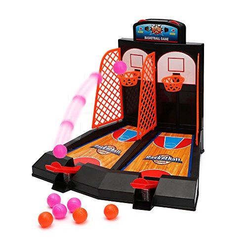 WISHTIME Tischplatte Mini-Basketball Korbwurf Spiel 2 Spieler Korbwurf Basketballspiel mit Scoring Gerät für die Kinder