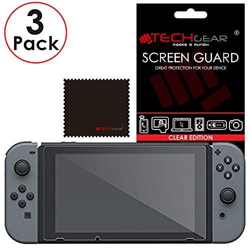 Switch Protection d'Écran [Pack of 3] TECHGEAR Film de Protection Ultra Clair avec Chiffon de Nettoyage et Carte d'Application - Protection Compatible avec Nintendo Switch