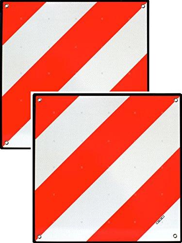 MAGMA Warntafel für hinten | Für Fahrradträger, Heckträger & Anhänger | Warnschild für Wohnwagen, Wohnmobil, Auto, Motorrad | Für Urlaub, Camping, Abschleppen | Rot-weiße Streifen, reflektierend | (2)