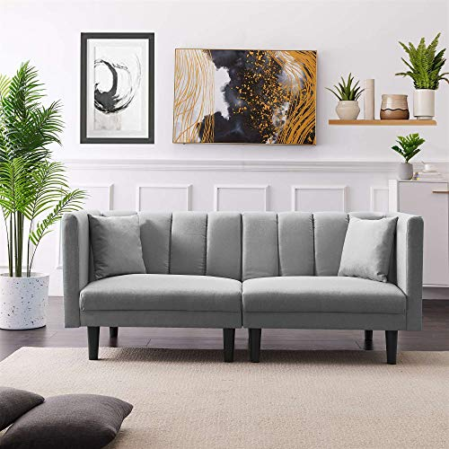 Futon Couch, Sofa Bed, Small Couch, Convertible Folding Sofa, Love Seat, Home Recliner, Modern Living Room Sleeper Sofa, with Detachable Armrests, Two Pillows for Family Bedroom (Grey)