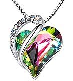Leafael Infinity Collar con colgante de corazón de amor, arcoíris, negro, piedra curativa, joyería de cristal, regalos para mujeres, tono plateado, 18 '+2'