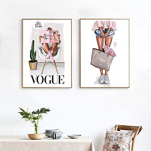 Cartel de Lienzo Vogue Print Chica de Moda con Bolsa Chica Pintura Decoración Imagen Sala de Estar Decoración 40x60cmx2 / sin Marco