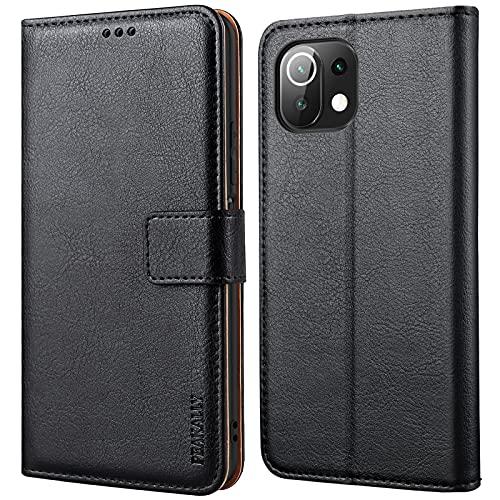 Peakally Funda Xiaomi Mi 11 Lite, Premium Piel Carcasa Xiaomi Mi 11 Lite Cuero Fundas PU Case Suave con Tapa [Soporte Móvil] [Ranuras para Tarjetas] -Negro