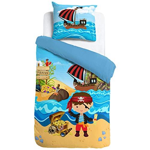 ESPiCO Bettwäsche Sleep and Dream Pirat Meer Schatz Strand Piratenschiff Bunt Kinder Zimmer Motiv Design Renforcé, Größe:135 cm x 200 cm