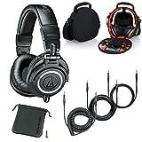 Audio-Technica ATH-M50x Professional Studio Monitor Headphones Black Case Headphones Accessories Bundle
