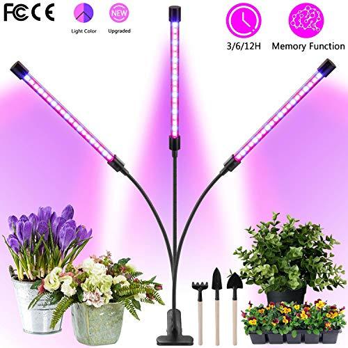 Pflanzenlampe LED, PEYOU pflanzenlicht Verbesserte 30W LPflanzenlampe Led mit 60 LEDs, 3 Modi-Timer, 6 Helligkeitsanpassungen, verstellbarem Schwanenhals, Gartenwerkzeugsätzen aus Rechenschaufelspaten