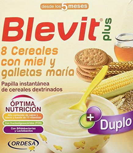 Blevit Plus Duplo 8 Cereales con Miel y Galletas María, 1 unidad 600 gr. A partir de los 5 meses.