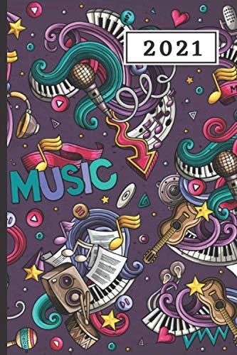 AGENDA 2021: Agenda semana vista (Enero 2021 / Enero 2022) | Anual | Tamaño de bolsillo | Planificador semanal (Español) | 1 semana en 2 páginas | ... o Estudiantes | Tapa instrumentos musicales