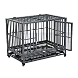 PawHut 36' Heavy Duty Steel Dog Crate Kennel Pet Cage w/Wheels - Grey Vein