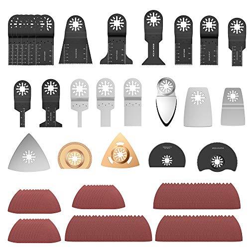 115 herramientas multifunción, hojas de sierra universal, accesorios oscilantes multifunción, hoja de sierra oscilante para Bosch Dewalt Makita corte esquinas de madera, azulejos clavos (115 unidades)