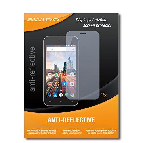 SWIDO Schutzfolie für Archos 50 Helium+ [2 Stück] Anti-Reflex MATT Entspiegelnd, Hoher Festigkeitgrad, Schutz vor Kratzer/Bildschirmschutz, Bildschirmschutzfolie, Panzerglas-Folie