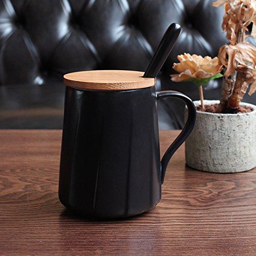 simple couverture scoop de céramique mug à café 400 ml,black,la couverture du bambou